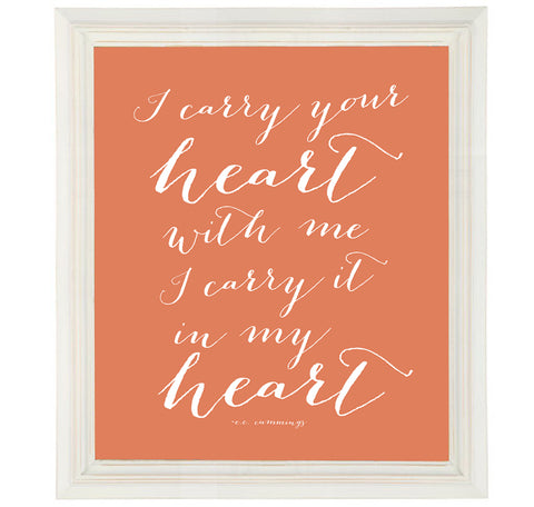 I Carry Your Heart Print from EE Cummings Love Poem