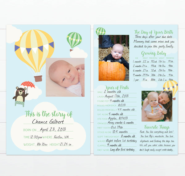 Travel Theme Nursery Baby's First Year Milestone Card