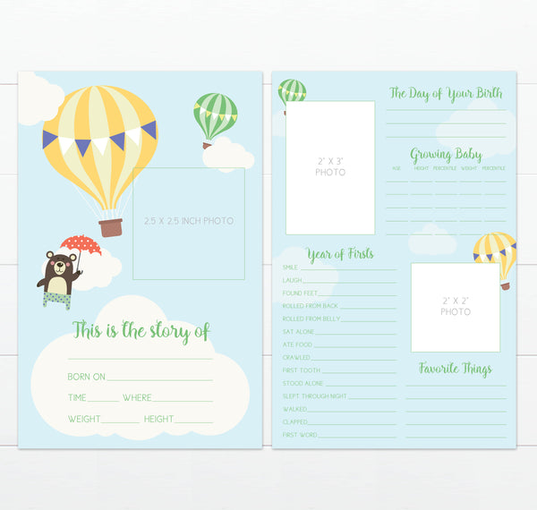 Hot Air Balloon Baby's Greatest Hits Milestone Card