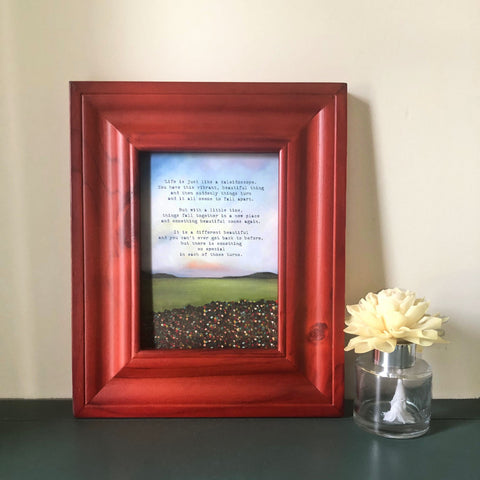 Kaleidoscope Painting on Mini canvas board framed in rustic red