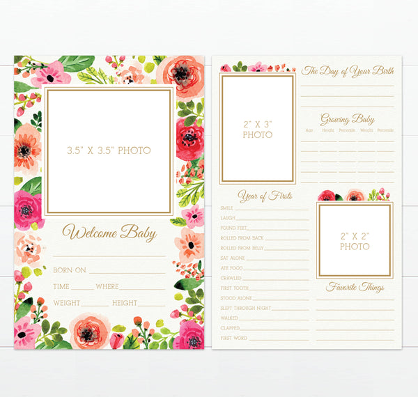 Large Floral Baby Milestone Card for Girl by Munga Vision
