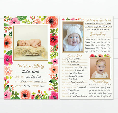 Large Floral Baby Book Alternative | Baby's Greatest Hits Example