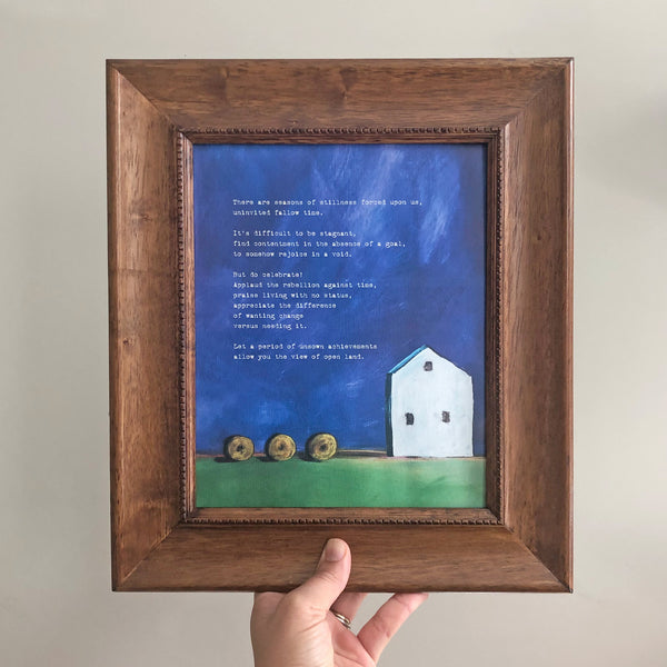 Hay Bale painting of country farm and set in frame
