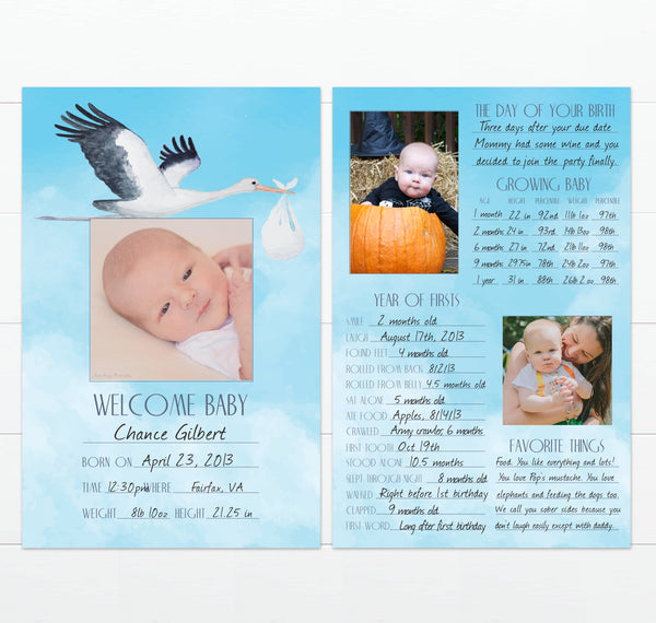 Example of a completed stork design baby book alternative card