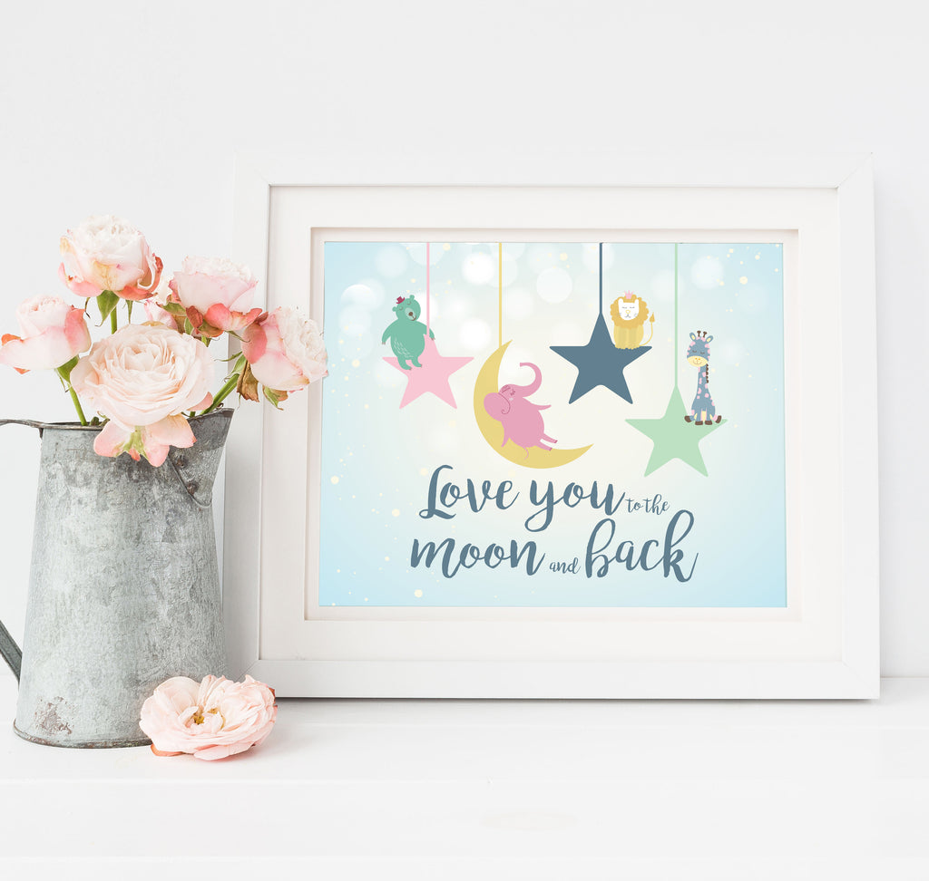 Love You To the Moon and Back Nursery Wall Decor