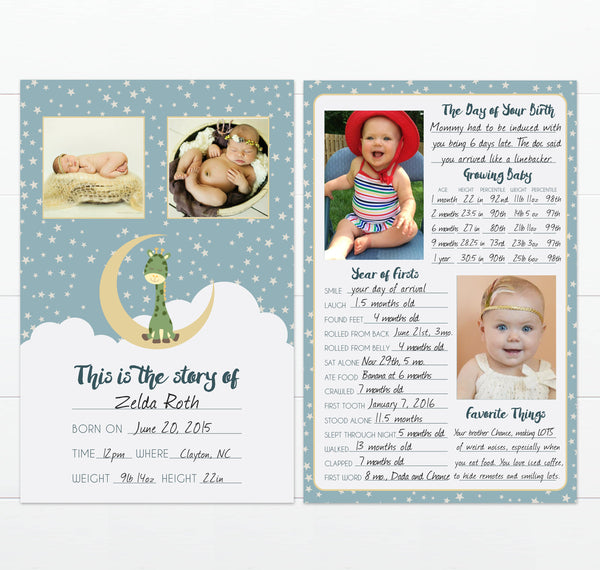 Twinkle Twinkle Little Star Modern Baby Milestone Keepsake Card