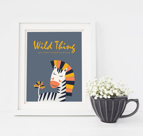 Wild Thing Hipster Zebra Art Print You Make Everything Groovy