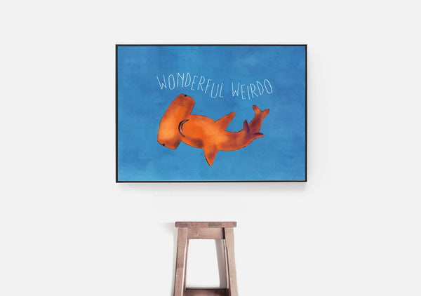 Wonderful Weirdo Shark Art featuring an Orange Hammerhead: Stay Weird Kids
