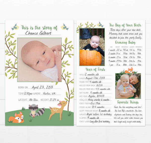 Baby Milestones Keepsake Card in Woodland Theme with Forest Animals