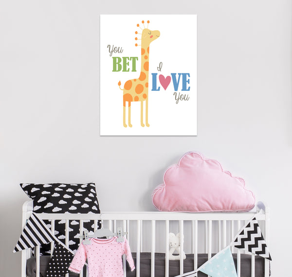 You Bet Giraffe I Love You Hipster Canvas Art by Munga Vision
