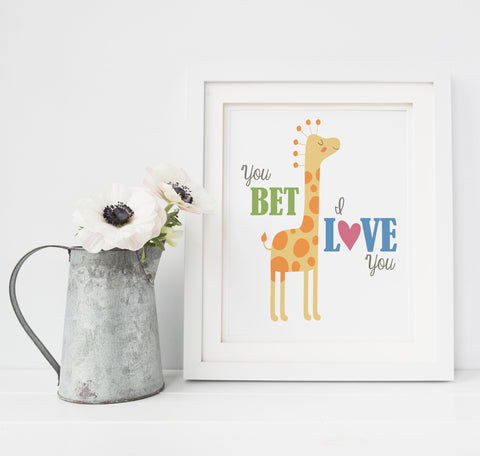 You Bet Giraffe Nursery Art Print | Funny Hipster Decor