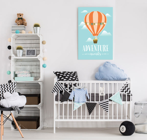 Hot Air Balloon Adventure Awaits Travel Themed Nursery Canvas Art