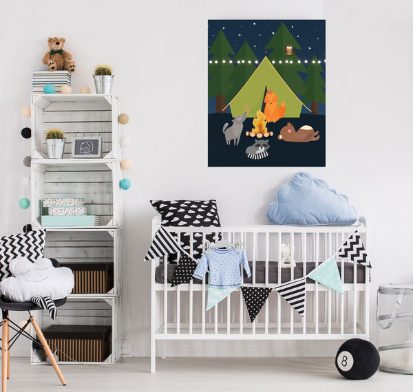 Woodland Animals Camping Nursery Canvas Art Print | Forest Pine Trees at Night