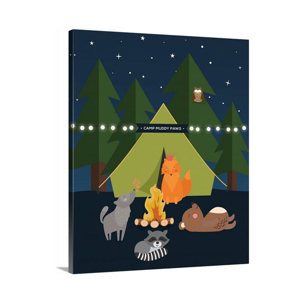 Woodland Animals Forest Camp Scene Canvas Nursery Wall Hanging