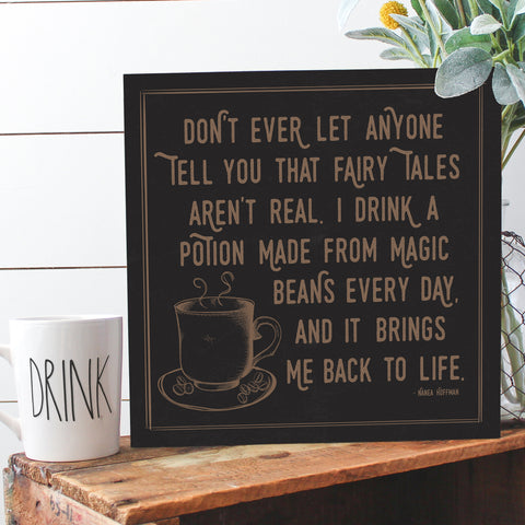 Magic Beans Coffee Decor Wood Sign with Stand