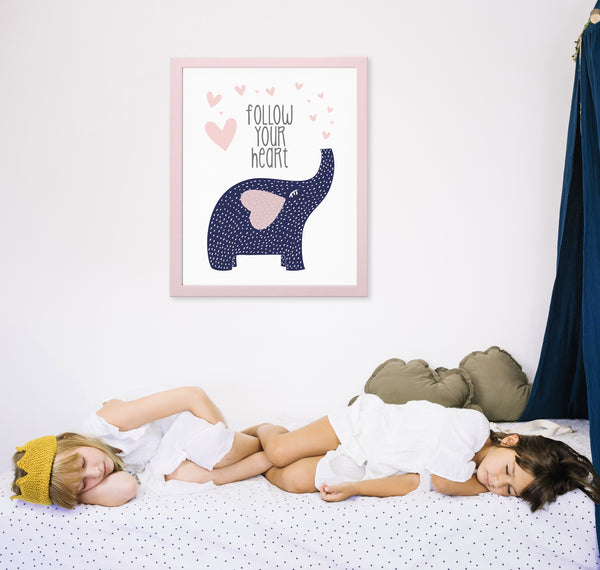 Trumpeting Elephant Nursery Decor | Follow Your Heart Art Print