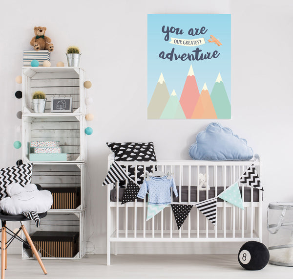 You Are Our Greatest Adventure Sign and Adventure Awaits Nursery Canvas Art