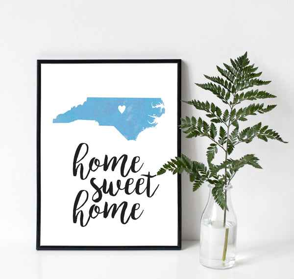 Home Sweet Home State Watercolor Art Print