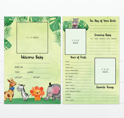 Jungle Theme Nursery Baby Book Alternative