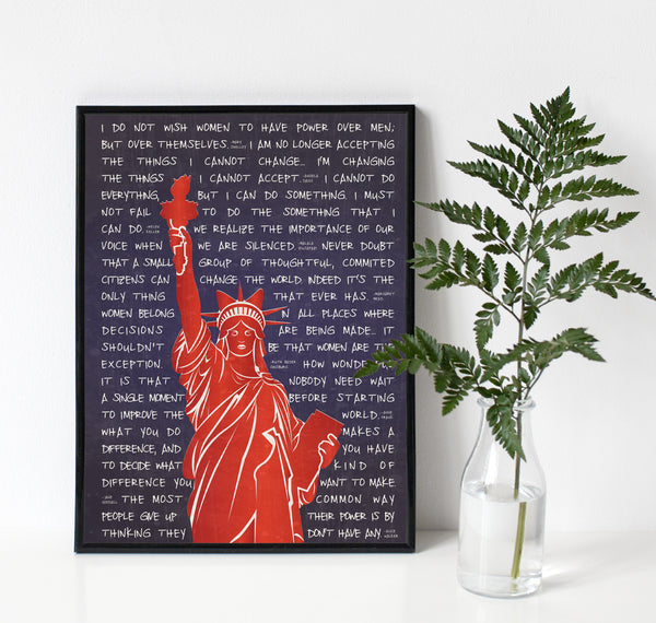 Lady Liberty in Kitty Ears for Female Empowerment Art Print with Famous Quotes