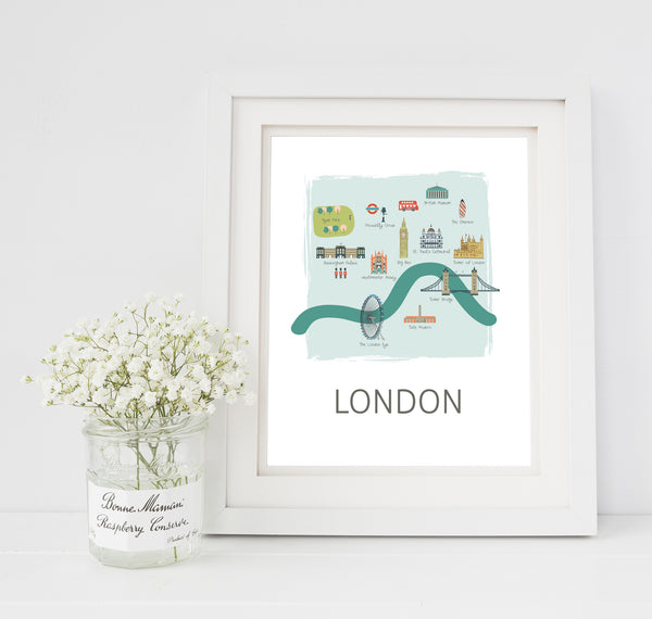 London Travel Map Nursery Print