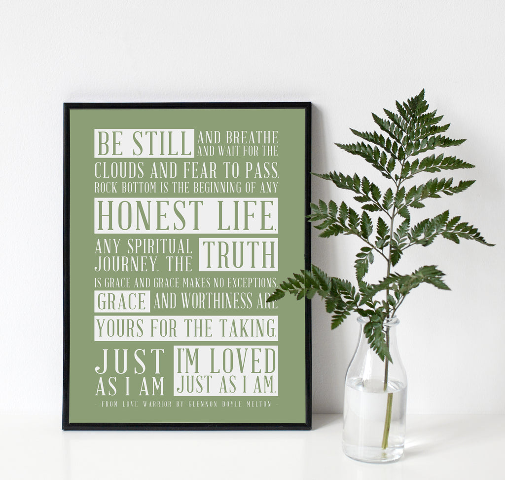 Glennon Doyle Quote Art Print Love Warrior in Spa Green