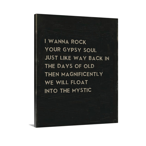 Van Morrison Song Lyric Art to Into the Mystic on Canvas