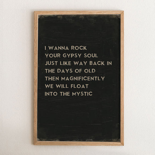 Into The Mystic Van Morrison Song Lyric Art Print