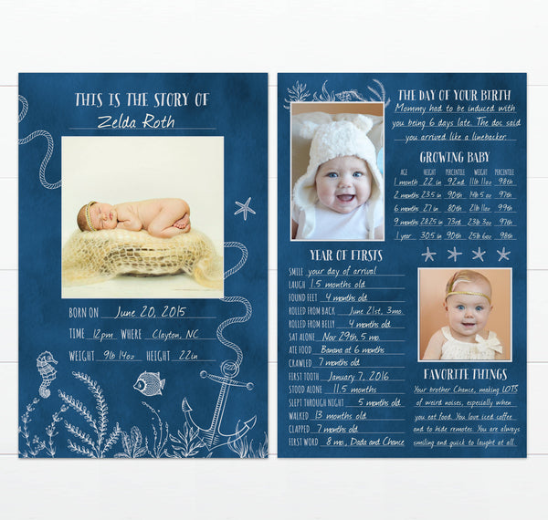 Nautical Sea Theme Baby's Greatest Hits Keepsake First Year Memory Card