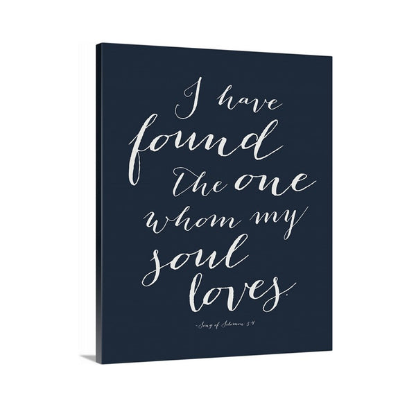 Song of Solomon I have Found the One Canvas Art featured in Navy