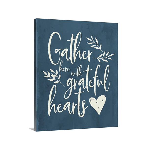 Gather Here with Grateful Hearts Canvas in Navy