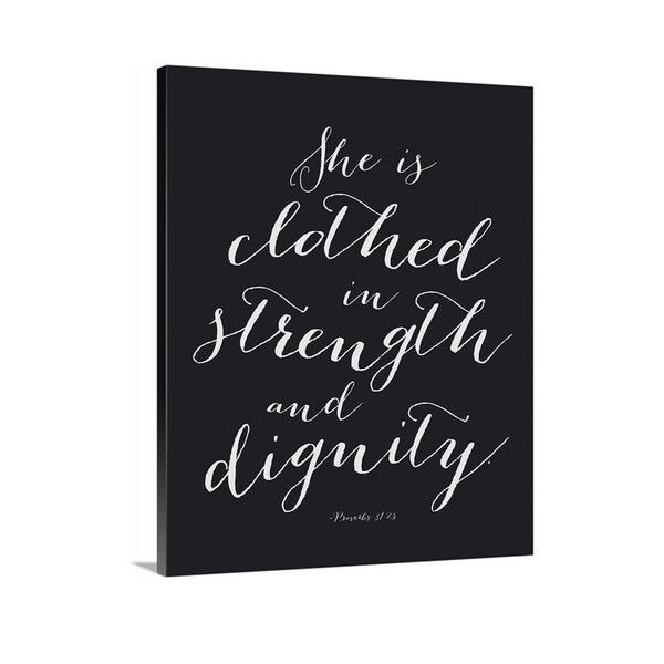 She is Clothed in Strength and Dignity Canvas Wall Art featured in Charcoal black