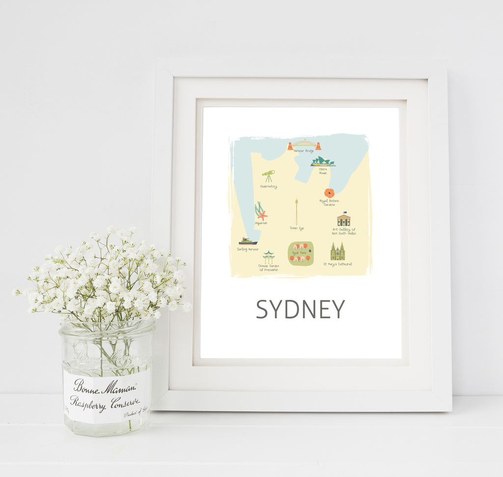 Sydney Travel Map Nursery Print