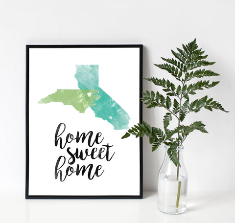 Two Home States in Love Watercolor Print