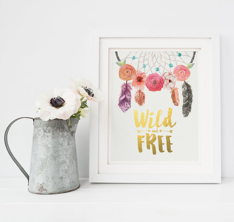 Bohemian Nursery Art Wild and Free Gold Foil Print