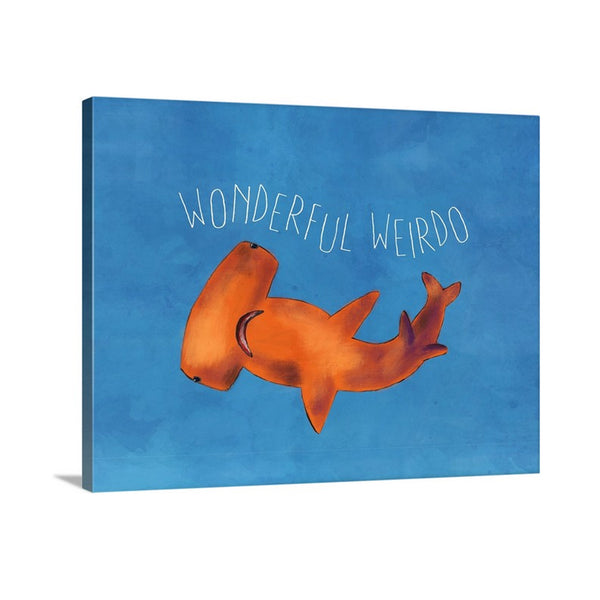 Wonderful Weirdo Hammerhead Shark Art for Boys Room on Canvas