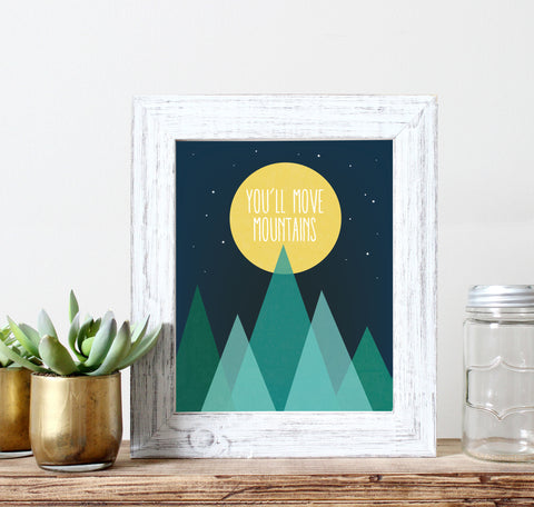 You'll Move Mountains Wall Decor Moon and Stars Nursery Art