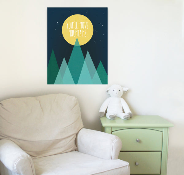 Full Moon and Stars Nursery Art Print with Inspirational Message You'll Move Mountains