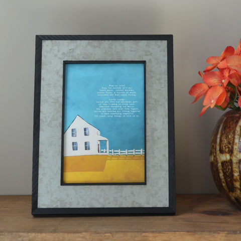 Framed Canvas Mini of Farmhouse painting with original poetry