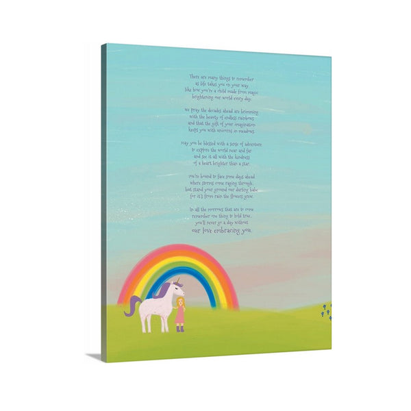 Unicorn and Rainbow Little Girls Room Canvas Art