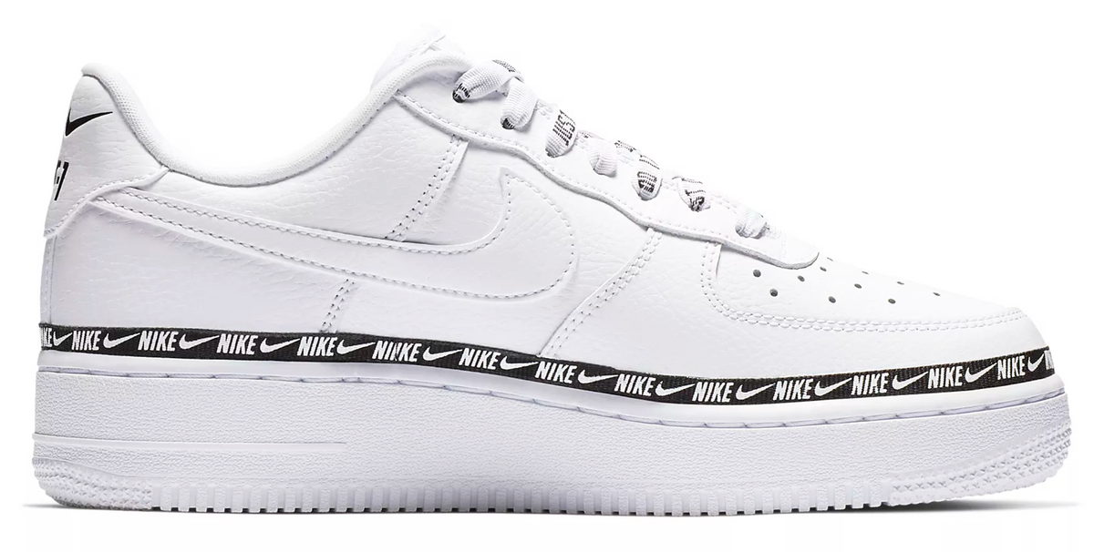 nike air force overbranded white