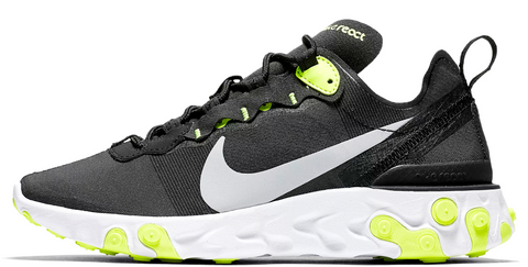 f31a3800c5 Nike React Element 55 Black / Lime Green WMNS