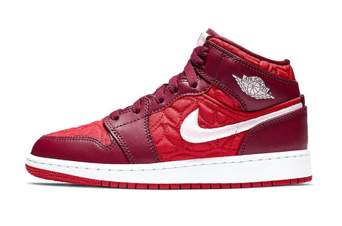 Nike Jordan 1 Mid GS Red Quilted