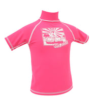 Gul  Short Sleved Junior Girls Rash Vest