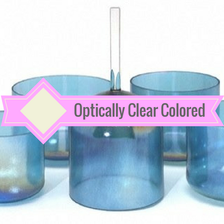 Healing Himalayas. Optically clear colored crystal singing bowls.