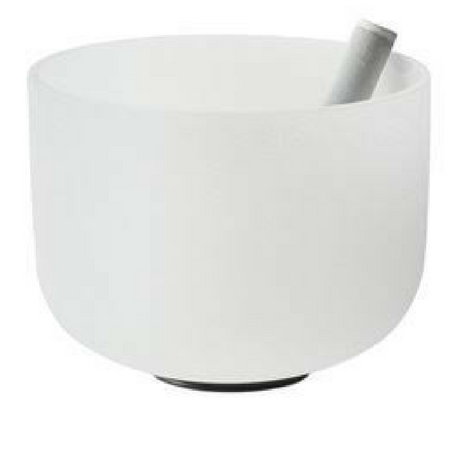 "Image of 8"" large frosted crystal singing bowl. Includes suede striker (playing mallet) and o-ring."