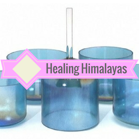 Image of Optically clear colored crystal singing bowls. Chakra tuned. Great for opening and closing meditation and yoga sessions and reiki healing.