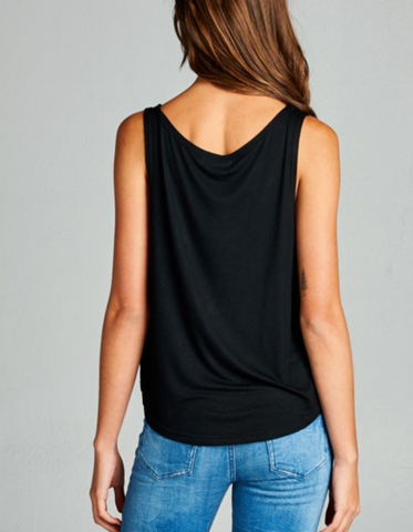 Black & Silver Om Yoga Crop Tank