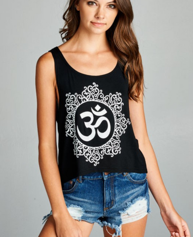 Image of Black & Silver Om Yoga Crop Tank