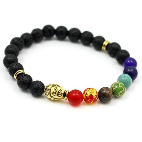 "The 7 Chakra Healing Bracelet With Black Lava Beads - With ""Buddha Bead"""